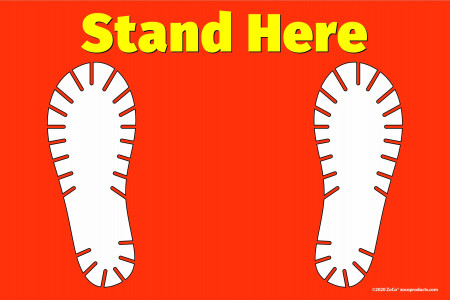 """""""Stand Here"""" Shoe Print Floor Decal Sign"""