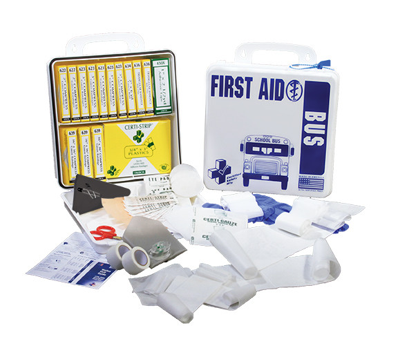 School Bus First Aid Kit, Metal, Complete