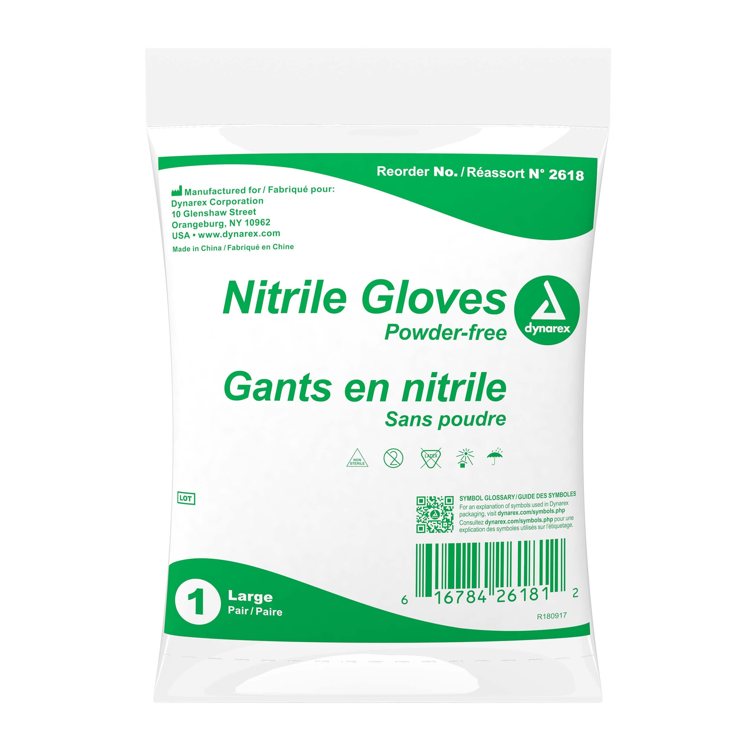 Large Powder-Free Nitrile Gloves, 1 pair per bag