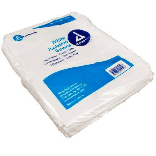 Isolation Gown, Poly-Coated Barrier, 5/bag