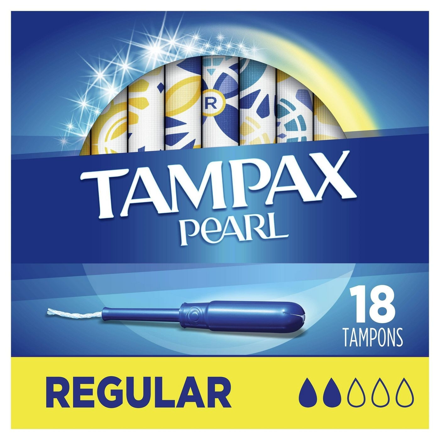 Tampax Pearl Regular Absorbency Tampons, Unscented, 18/box