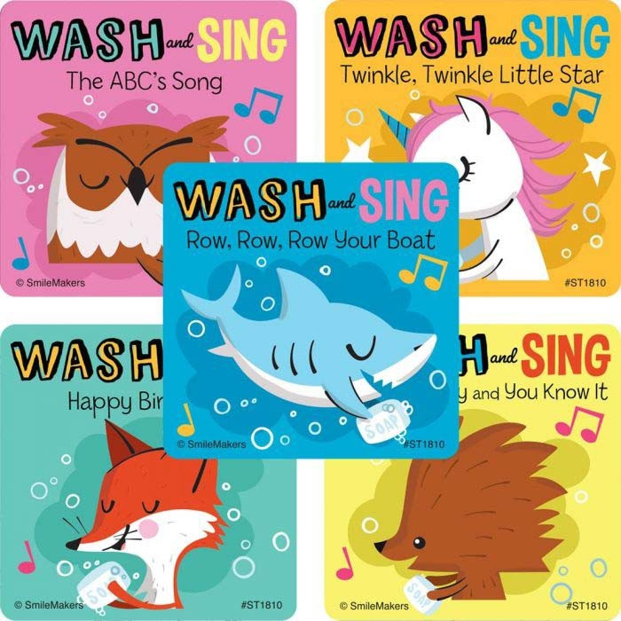 Hand Wash and Sing Stickers, 5 Designs, 100 per roll