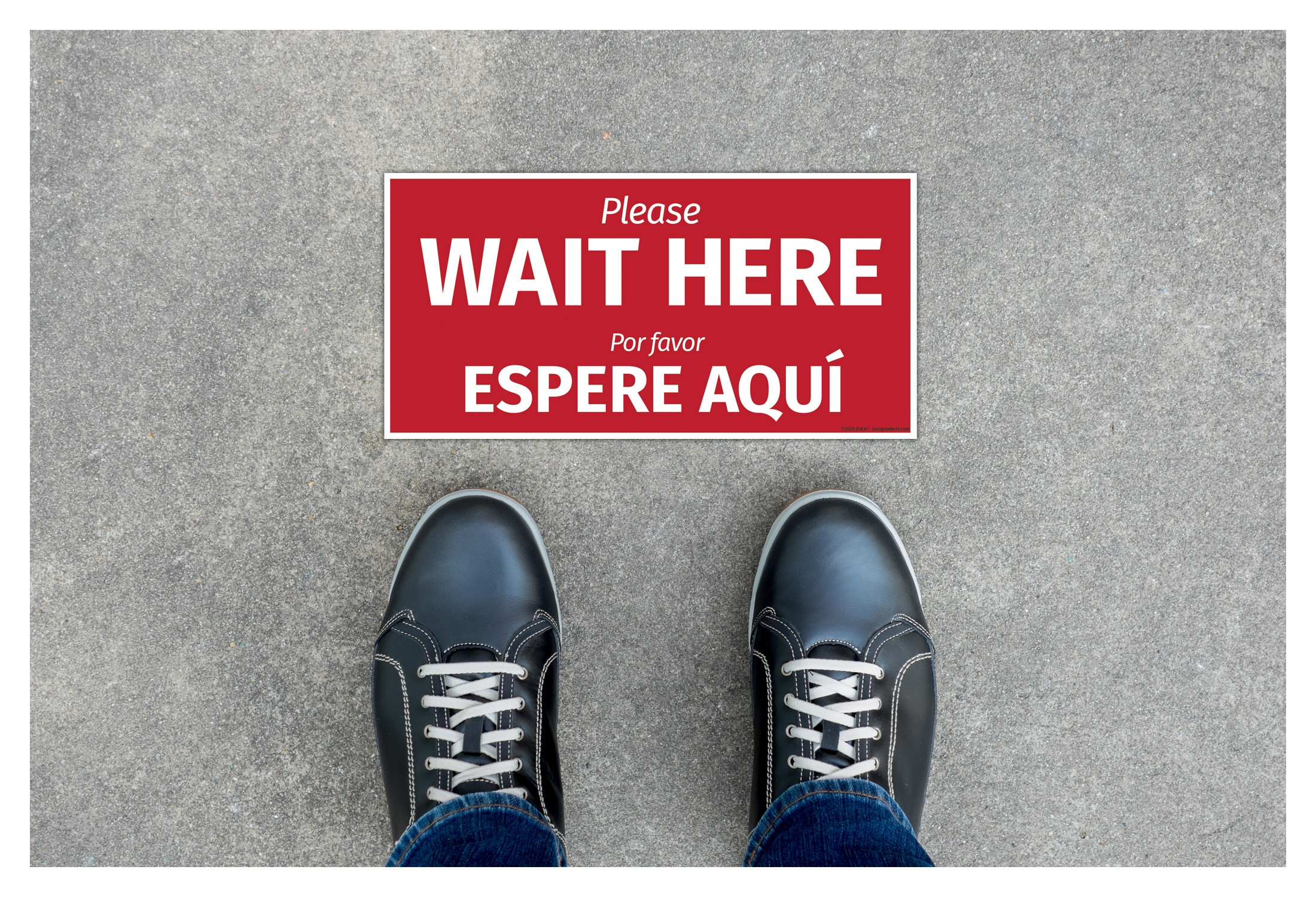 """Wait Here"", English/Spanish, Floor Decal Sign"