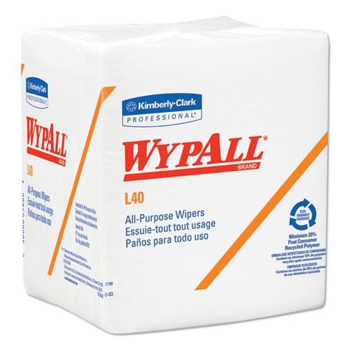 WypALL L40 Towels, 1/4 Fold, White, 12 1/2 x 12, 56/Box