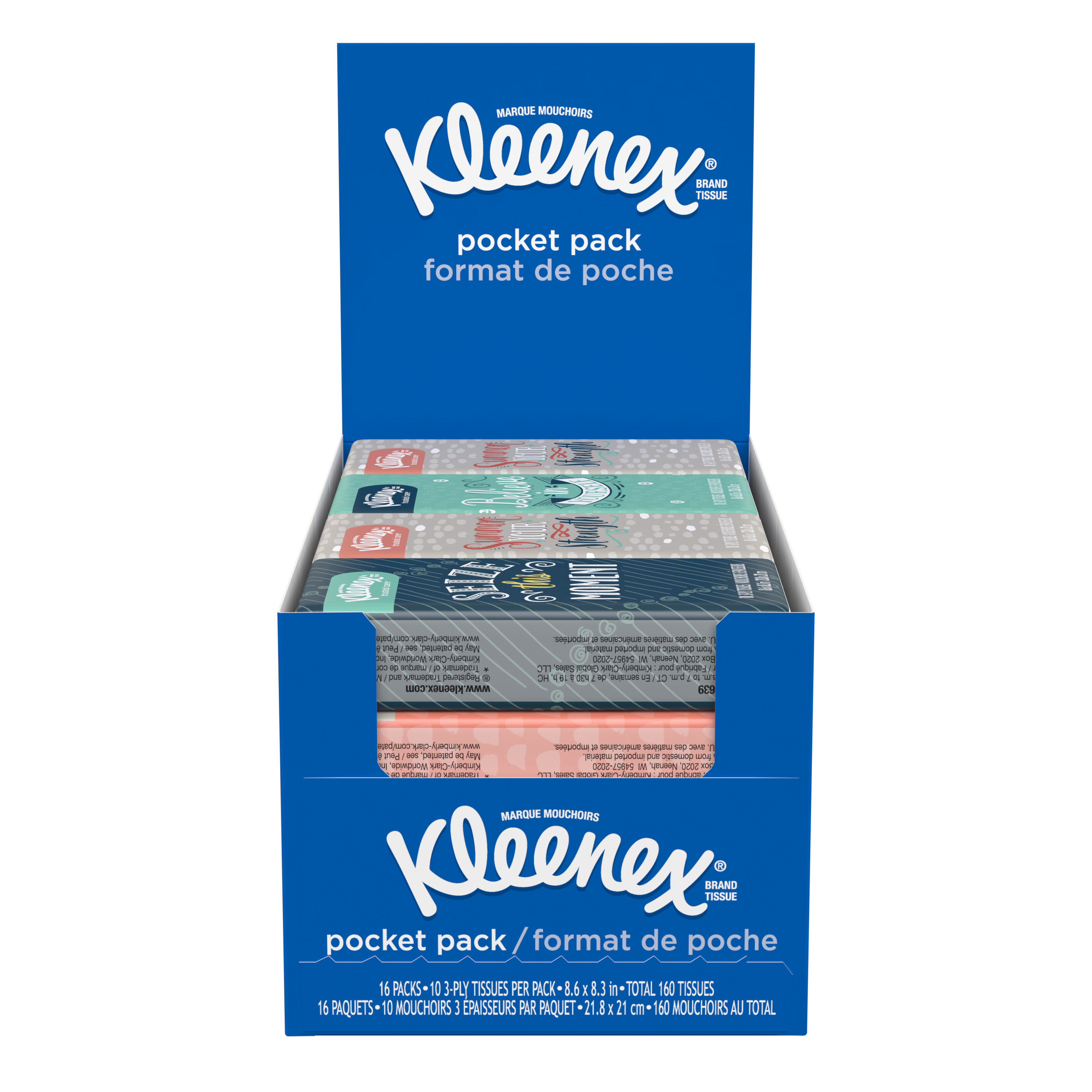 Marque H Et H kleenex® pocket packs, 10/pack, 16 packs per box