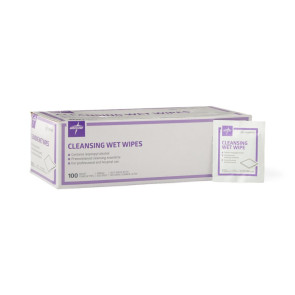 Cleansing Wet Wipes with Alcohol Towelettes, 100 per box