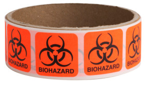 "Biohazard Labels, 1"" x 1"", 50/Roll"