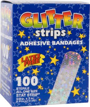 """3/4"""" x 3"""" Glitter Plastic Bandages 100/Box"""