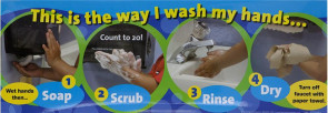 "Handwashing Poster, Laminated 8.5"" x 24"""