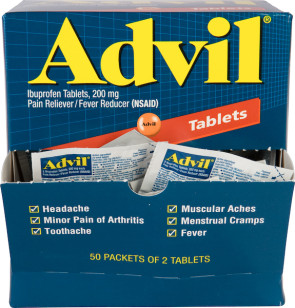 Advil Tablets 200 mg, 50 Packs of 2 Per Box