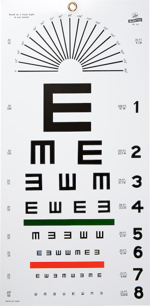 "Wall Mounting 20-Foot Plastic Eye Chart, Illiterate ""E"""