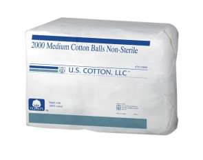 U.S. Cotton Medium Non-Sterile Cotton Balls, 2000/Bag