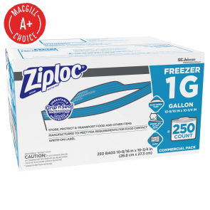 Ziploc® One Gallon Freezer Bags, 250/Case