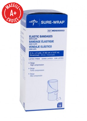 """3"""" x 5 Yds Economy Elastic Bandages with Clips, 10/Pack"""