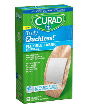 "Curad Truly Ouchless 1.625"" x 4"" Bandages, 8/Box"