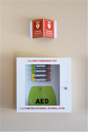 Combination Allergy Emergency Kit™ and AED Cabinet
