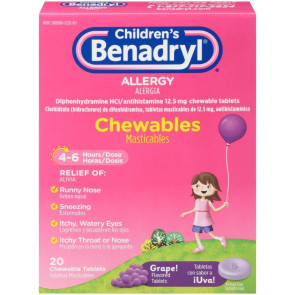Benadryl® Children's Grape Chewables, 20/Box