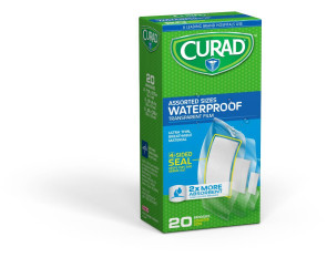 Curad Waterproof Transparent Film Bandages, Assorted, 20/Box