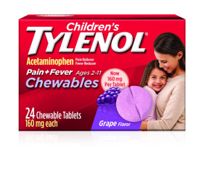 Children's Tylenol Chewables 160 MG, 24/Box, Grape