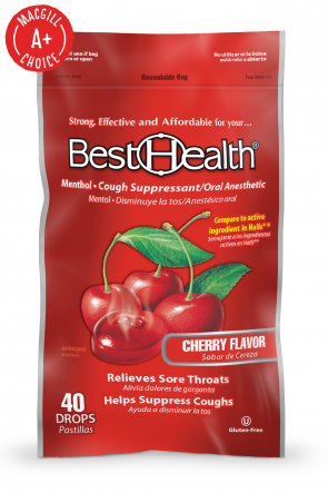 Economy Cough Drops, Cherry, 40 per Bag