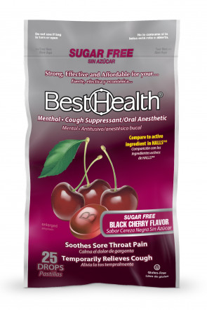 Economy Cough Drops, Sugar Free, Black Cherry, 25/Bag