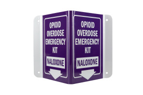 3D Naloxone Narcan Overdose Kit Sign, Purple