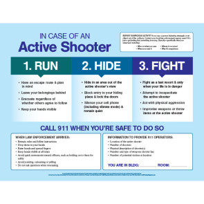"In Case of an Active Shooter Poster, Laminated, 17"" x 22"""