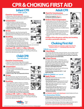 "CPR & Choking First Aid Poster, 17"" x 22"", Laminated"