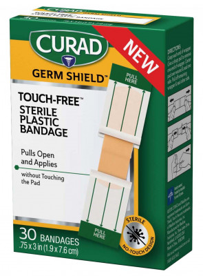 "Curad Germ Shield Touch-Free Sterile Plastic Bandage 3/4""x3"""