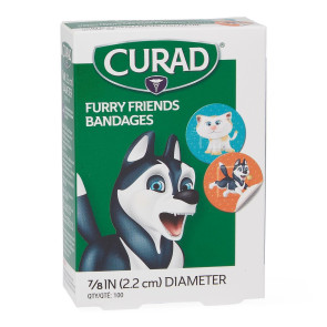 "Curad Furry Friends Plastic 7/8"" Spot Bandages, 100/box"