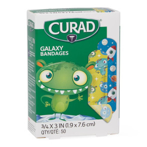 "Curad® Galaxy Plastic Bandages, 3/4"" X 3"", 50/box"