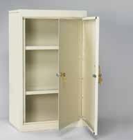 Medication Cabinet Double Door Key Lock, Beige
