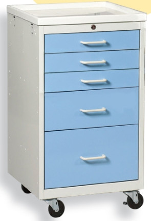 Slate Blue 5 Drawer Key Lock Mini Cart