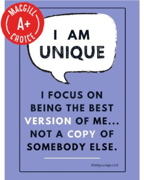 "I Am Unique Poster, 11"" X 17"", Laminated"