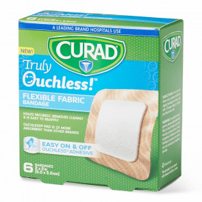 "Curad® Truly Ouchless 2"" x 2"" Flexible Fabric Bandages 6/Box"
