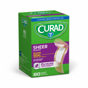 "Curad® 3/4"" x 3"" Sheer Bandages, 80/Box"