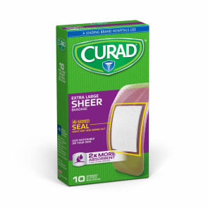 "Curad® 2"" x 3-3/4"" XL Sheer Bandages, 10/Box"