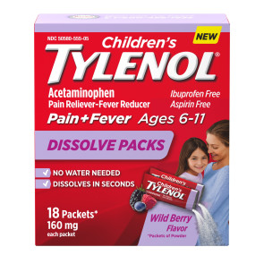 Children's Tylenol® Rapid Dissolve Packs, Wild Berry, 18/box