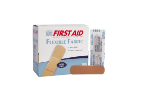 "American® White Cross 3/4"" x 3"" Fabric Bandages, 100/Box"
