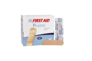"American® White Cross 3/4"" x 3"" Plastic Bandages, 100/Box"