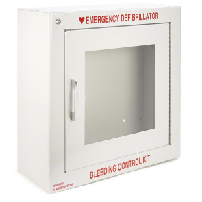 AED Cabinet with Alarm and Bleeding Control Kit Lettering