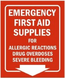 Emergency First Aid Supplies Wall Sign