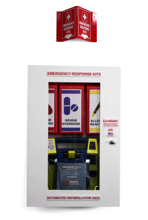 LiveSaver First Aid System Cabinet with AED Storage