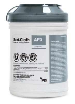 """PDI AF3 Germicidal Wipes, 6"""" x 6¾"""", 160/Can"""