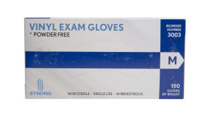 Strong MFG Medium Vinyl Exam Gloves, 150 per box, 10/case