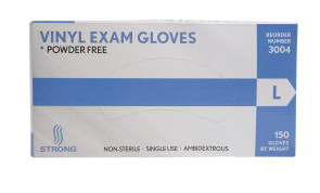 Strong MFG Large Vinyl Exam Gloves, 150 per box