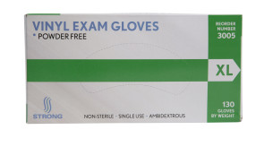 Strong MFG X-large Vinyl Exam Gloves, 130/box, 10/case