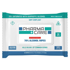 "Pharma Care 70% Isopropyl Alcohol Wipes, 5.5"" x 7"", 50/pack"
