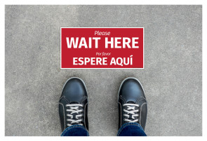 """Wait Here"" Floor Decal Sign in English/Spanish"