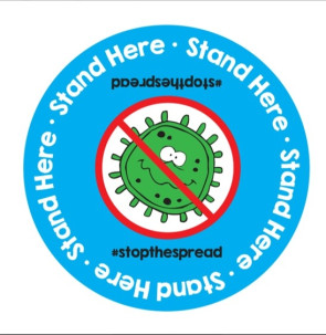 "Stand Here, Stop The Spread Floor Decal, 11"" Circle"